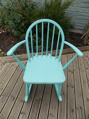 Mid-Century Ercol Windsor Elm Childs Rocking Chair painted in Teal  REDUCED