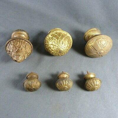 Lot of French Antique Curtain Finials Tole Brass & Bronze Rod End