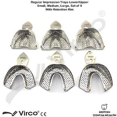 Dental Impression Trays Rim Lock Perforated Regular S, M, L Upper / Lower CE