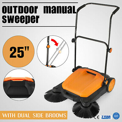 "Manual RT-650S Outdoor Push Sweeper 25""With Brooms Light Weight Household"