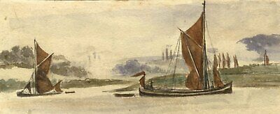 M. Conway, Boats on the River Medway - Original 1890s watercolour painting
