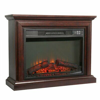 Luxury 2KW Electric Fireplace LED Log Fire Burn Flame Heater + Surround LQ