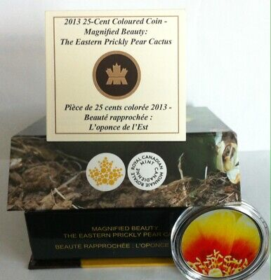 2013 Canada Eastern Prickly Pear Cactus' Colored  25¢ Cent Coin - C/W Case