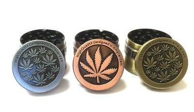 50mm AMSTERDAM WEEDS HERB LEAF MAGNETIC METAL 4 PART TOBACCO GRINDER CRUSHER