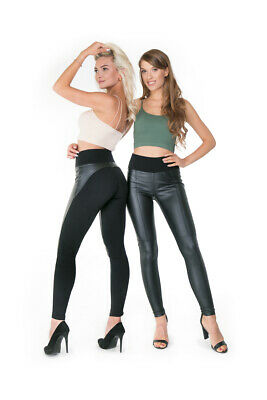 Ladies Black Leggings Leather Paulo Connerti High Waist Shaping Trousers