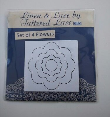 Brand New Tattered Lace Cutting Dies - Set of 4 Flower dies QF231