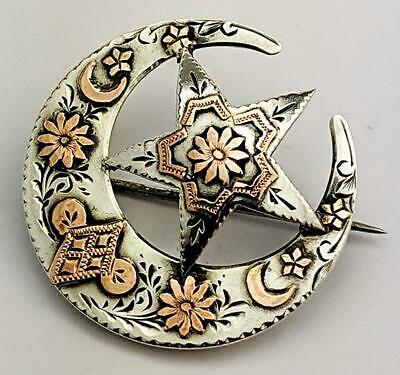 Victorian Crescent Moon Gold & Sterling Silver Brooch 1890