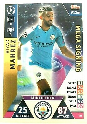 Match Attax 18/19 Uefa Champions League  Rihad Mahrez Mega Signing  Mint