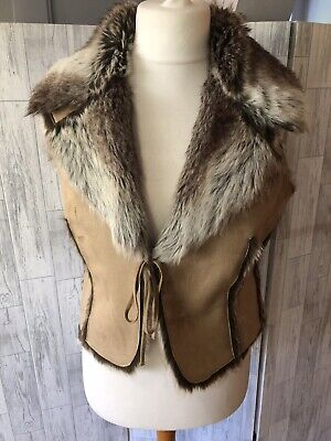 New Look Beige Faux Suede Gilet,faux Fur Lining & Collar, Tie Front Sz16 VGC