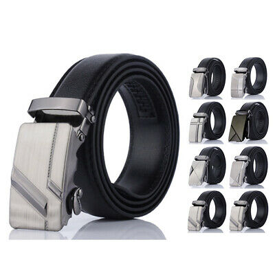 Fashion Men Automatic Smooth Buckle Belt Black PU-Leather Ratchet Waistband 1.4""