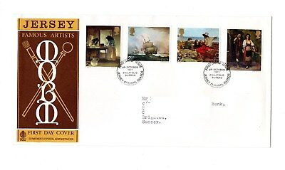 Jersey - 1971 Famous Artists FDC of used postage stamps