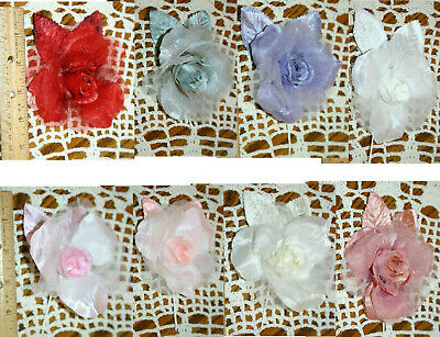 Vtg Organza Satin Rose Millinery Hat Wedding Rose Sash Fascinator Flower Girl