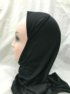 Muslim Kids Girls Adult Hijab Islamic Headscarf Plain Scarf One Piece Children