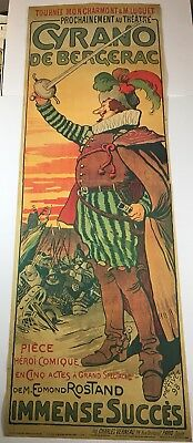 "Huge Cyrano De Bergerac Poster 62.5""x 21"" Theatre Poster Reproduction Of 1898"