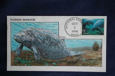 Endangered Species Florida Manatee Stamp FDC Handpainted Collins#R2615 Sc#3105o