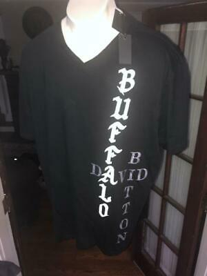 Nwt Buffalo David Bitton S/S Black V-Neck T-Shirt Sz:4Xl 4X Xxxxl