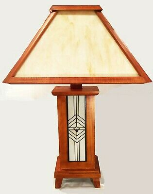 Slag glass lamp. Mission style. Wood. Arts & Crafts. Contemporary reproduction.