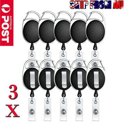 3Pack Retractable Reel Pull Key ID Card Badge Tag Clip Holder Carabiner Style AU