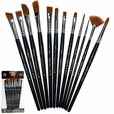 Paint Brushes Round Pointed Tip Acrylic Brush Watercolor Oil Painting Set 12 Pcs
