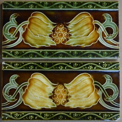 England - 2 Antique Art Nouveau Majolica Border Tiles C1900