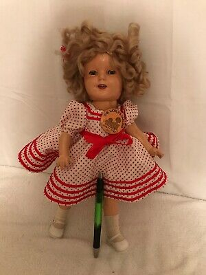 "Vintage/Antique 1930's 12"" Shirley Temple Composition Doll With Collectible Pin"