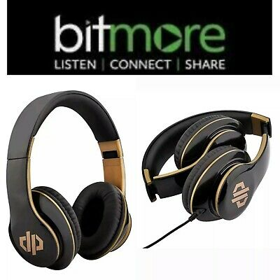 Bitmore Projectt Wired Stereo Headphones Over-Ear Black/Gold Damaged Box New