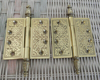 Pair of Heavy 4x4 inch Decorative Embossed Solid Brass Cabinet/Furniture Hinges