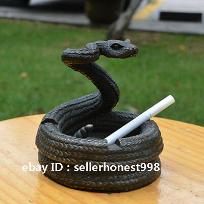 amazing Pure Bronze Snake Ashtray Statue Art Deco Sculpture