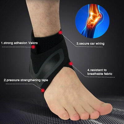 Adjustable Sports Compression Elastic Black Ankle Braces Support Protector Wrap
