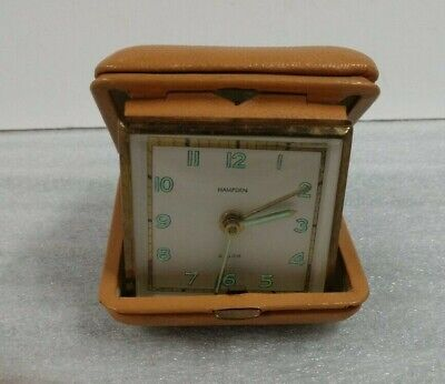 Vintage Hampden Travel Alarm Clock - Leather Case Made in Germany - Working