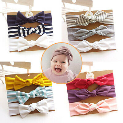 3 Pcs Striped Cotton Bow Knotted Headbands Stretchy Handmade Hair Accessories