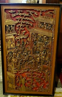 Antique Chinese Gilded Wood Carved Panel Qing Dynasty