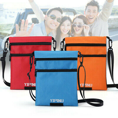 Neck Wallet Travel Documents Secure Safe Carry Pouch Passport Holder Blue Red