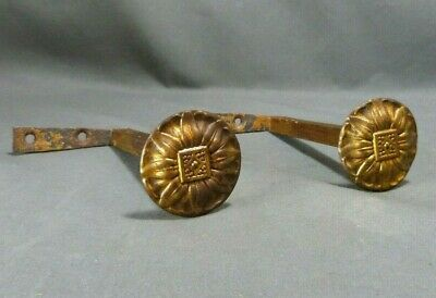 Pair of Antique French curtain tie back hooks to screw - brass 19th century