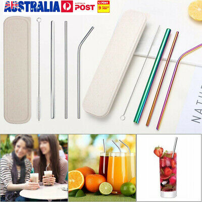 4x Reusable Rainbow Stainless Steel Metal Drinking Straws & Cleaning Brush UE