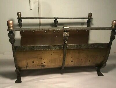 Good Arts&Crafts Iron&brass Log Holder 1915