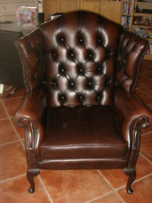 QUEEN-ANNE-Brown-Leather-Chesterfield-Chair-Quality