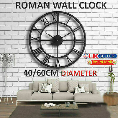 Traditional Vintage Style Iron Roman Wall Clock Numerals Home Decor Gift Round