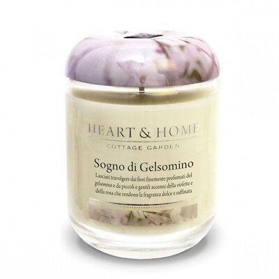 HEART & HOME COTTAGE GARDEN CANDELA CON CERA DI SOYA  340gr SOGNO DI GELSOMINO
