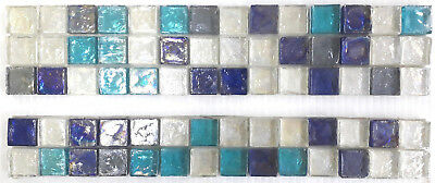 MOSAIC LUSTRE GLASS green blues and clear glass 2 Rows 3 rows or full sheets.