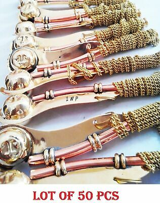 "Lot of 50 Brass Copper Boatswain 5"" Whistle w Chain Bosun Call Pipe Nautical"