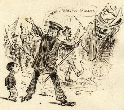 Pickford Robert Waller, French Soldiers – Late 19th-century pen & ink drawing