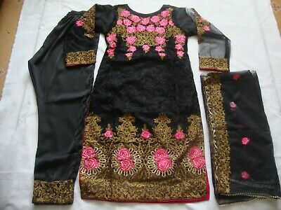 Fancy net embroidered black Stitched Suit Pakistani Indian Party Wear and EID