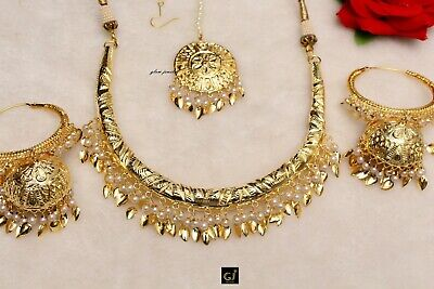 5df837f3fb061 GOLD LONG RANI Haar Jadau Muslim Punjabi Pakistani Necklace ...