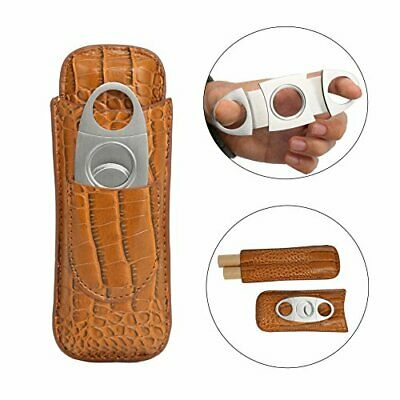 Cigar Case Holder with Cutter 2 Tubes Crocodile PU Leather Travel Portable US