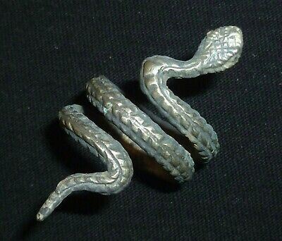 VIKING Ancient Silver SNAKE Ring - Circa 7th - 9th Century AD               /948