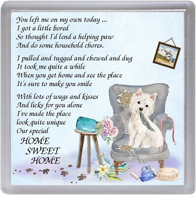 """West Highland White Terrier Coaster """"HOME SWEET HOME Poem ..."""" Gift by Starprint"""