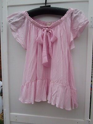 Ladies Peter Alexander pink ruffle top with bow  Size XS
