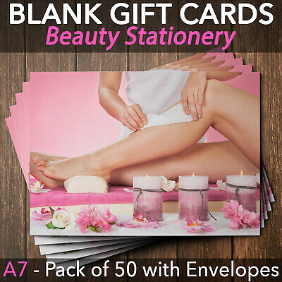 Gift Voucher Card Beauty Salon Waxing Hair Removal Therapist x50 + Envelopes