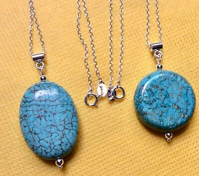 Huge Turquoise Pendant with Sterling Silver Bail 59mm x 39mm